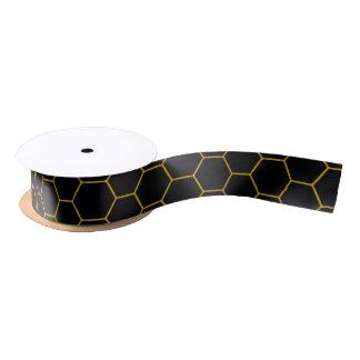 Honey print in black and yellow tons satin ribbon