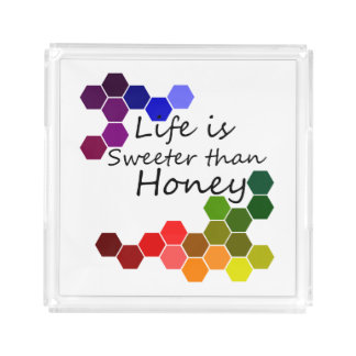 Honey Theme With Positive Words Acrylic Tray