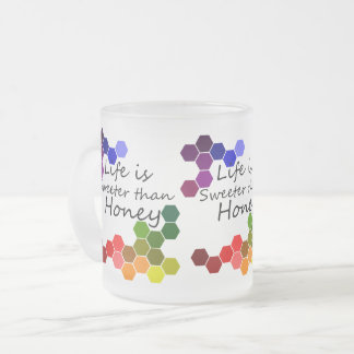 Honey Theme With Positive Words Frosted Glass Coffee Mug