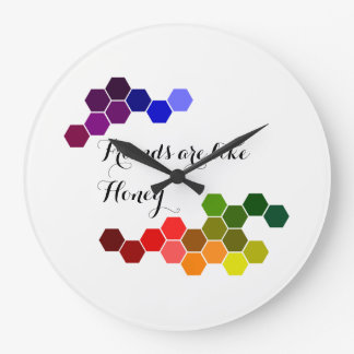 Honey Theme With Positive Words Large Clock