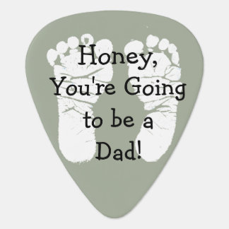 "'Honey, You're Going to be a Dad"" White Footprints Guitar Pick"