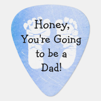 """'Honey, You're Going to be a Dad"""" White Footprints Guitar Pick"""