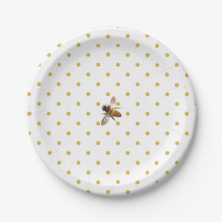 Honeybee and Polka-dots 7 Inch Paper Plate