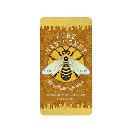 Honeybee Apiary Honey Jar Labels   Honeycomb Bee
