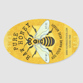 Honeybee Honey Jar Apiary Labels | Honeycomb Bee