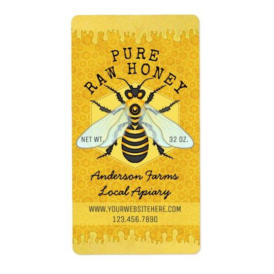 Honeybee Honey Jar Apiary Labels   Honeycomb Bee