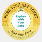 Honeybee Honey Jar Apiary Logo | Honeycomb Bee Classic Round Sticker