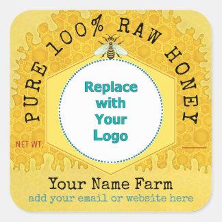 Honeybee Honey Jar Apiary Logo | Honeycomb Bee Square Sticker