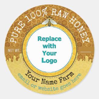 Honeybee Honey Jar Apiary Logo | Honeycomb Bee V2 Classic Round Sticker