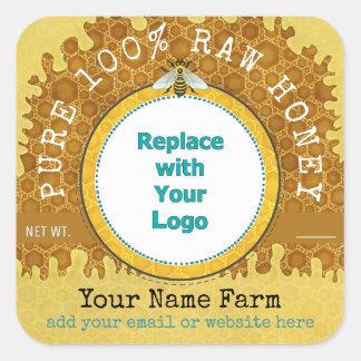 Honeybee Honey Jar Apiary Logo | Honeycomb Bee V2 Square Sticker