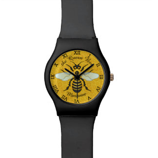 Honeybee Honeycomb Bee Queen Personalized Name Watch