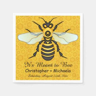 Honeybee Honeycomb Bee Wedding Theme Custom Paper Napkins