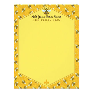 Honeybee Honeycomb Bumble Bee Farm Apiary Custom Letterhead Template