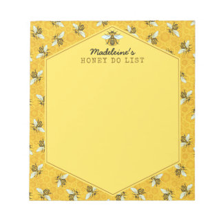 Honeybee Honeycomb Bumble Bee Honey Do List Custom Notepad