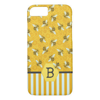 Honeybee Honeycomb Bumble Bee Monogram Pattern iPhone 8/7 Case