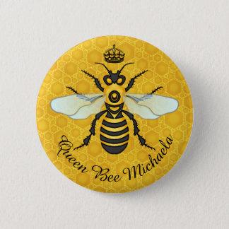 Honeybee Honeycomb Bumble Bee Queen   Custom Name 2 Inch Round Button