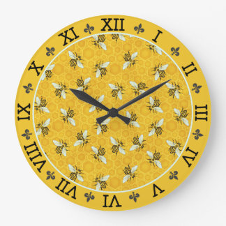 Honeybee Honeycomb French Bee Bumblebee Pattern Large Clock