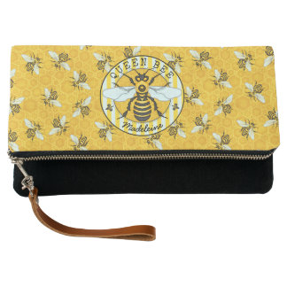 Honeybee Honeycomb Queen Bee Bumblebees Pattern Clutch