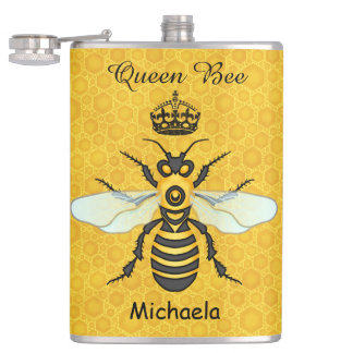 Honeybee Honeycomb Queen Bee Crown Custom Text Hip Flask