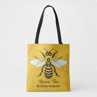 Honeybee Honeycomb Queen Bee Pretty | Add Name Tote Bag