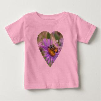 Honeybee on Fall Asters Heart Baby T-Shirt