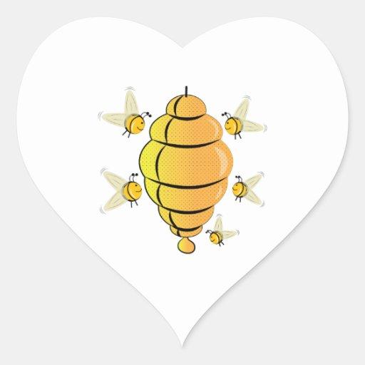 Honeybee Heart Stickers