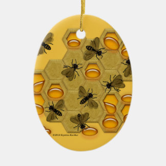 Honeybees and Honeycomb on Yellow Ceramic Ornament