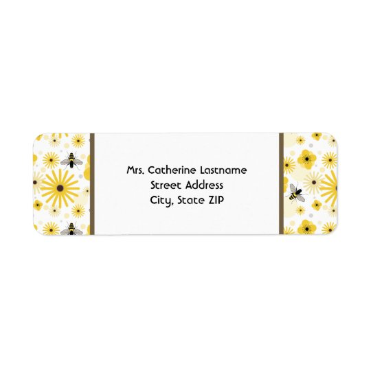 Honeybees & Flowers Address Label