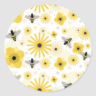 Honeybees & Flowers Envelope Seal Sticker