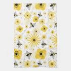 Honeybees Flowers & Polka Dots Kitchen Towel