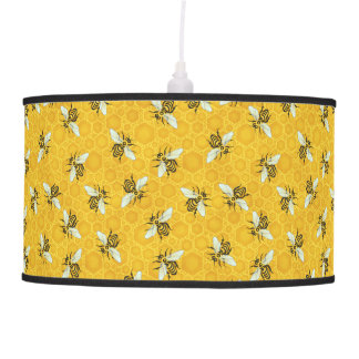 Honeybees Honeycomb Bumble Bee Hive Pattern Ceiling Lamp