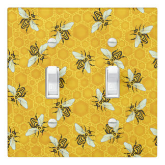 Honeybees Honeycomb Bumble Bee Hive Pattern Light Switch Cover
