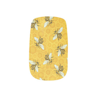 Honeybees Honeycomb Bumble Bee Hive Pattern Nails Sticker