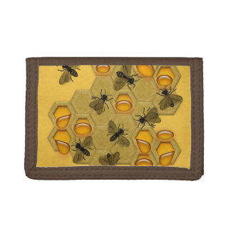 Honeybees & Honeycomb on Yellow Trifold Wallet