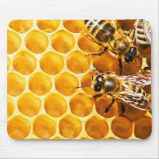 Honeycomb and Bees Pattern Design Mouse Pad