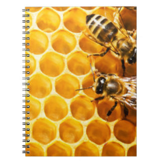 Honeycomb and Bees Pattern Design Spiral Notebooks