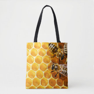 Honeycomb and Bees Pattern Design Tote Bag