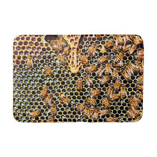 Honeycomb and Honey Bees Bath Mat