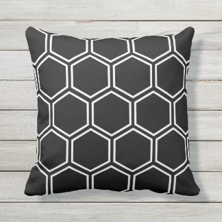 Honeycomb - Black Outdoor Pillow