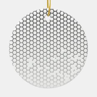 Honeycomb Grunge Round Ceramic Ornament