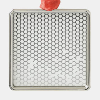 Honeycomb Grunge Silver-Colored Square Ornament