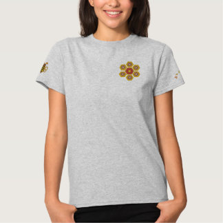 Honeycomb Hex Flower Embroidered Tee Embroidered Shirts