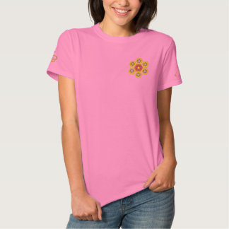 Honeycomb Hex Flower Embroidered Tee Polos