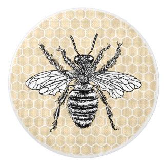 Honeycomb Honey Bee | Yellow Ceramic Knob