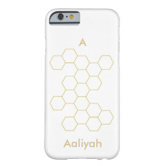 Honeycomb modern geometric pattern, Name & initial Barely There iPhone 6 Case