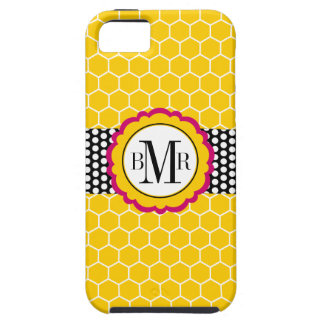 Honeycomb Pattern and Flower Monogram Personalized Case For The iPhone 5