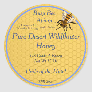 Honeycomb Round with Single Honeybee Honey Label Round Sticker