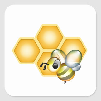 Honeycomb with a cute honeybee square sticker