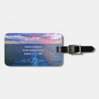 Honeymoon Cruise Destination Wedding Ocean Sunset Luggage Tag