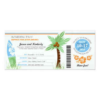 Honeymoon Gift Boarding Pass Palm Tree Surf Board Card